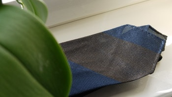 Blockstripe Silk Grenadine Tie - Untipped - Brown/Navy Blue