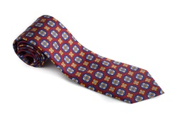 Medallion Printed Silk Tie - Rust/Navy Blue