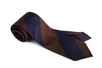 Regimental Blockstripe Silk Tie - Navy Blue/Brown