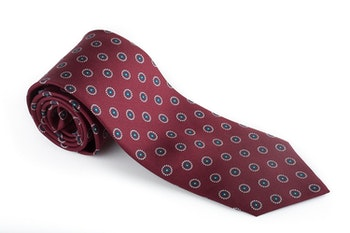 Floral Printed Silk Tie - Burgundy/White/Turquoise