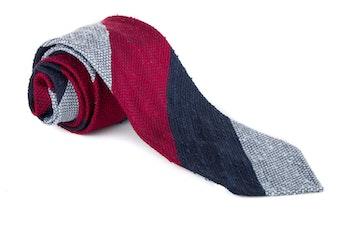 Blockstripe Shantung Grenadine Tie - Untipped - Light Blue/Red/Navy Blue