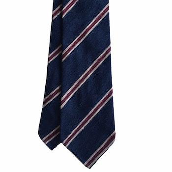 Regimental Shantung Tie - Untipped - Navy Blue/Beige/Burgundy