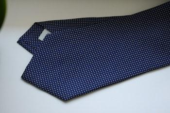 Pindot Printed Silk Tie - Navy Blue/White