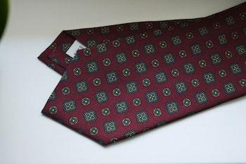 Medallion Printed Silk Tie - Burgundy/Green/Orange