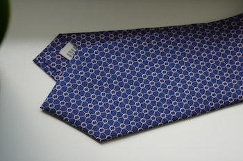 Micro Printed Silk Tie - Navy Blue/Pink/White