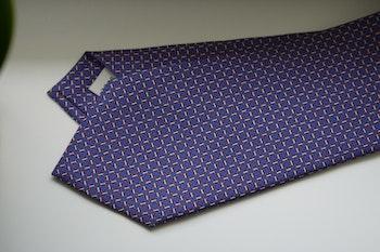 Micro Printed Silk Tie - Mid Blue/Red/White
