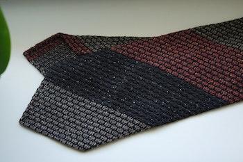 Blockstripe Silk Grenadine Jacquard Tie - Untipped - Brown/Orange/Beige