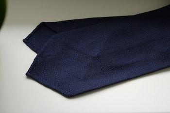 Solid Zigzag Garza Silk Tie - Untipped - Navy Blue