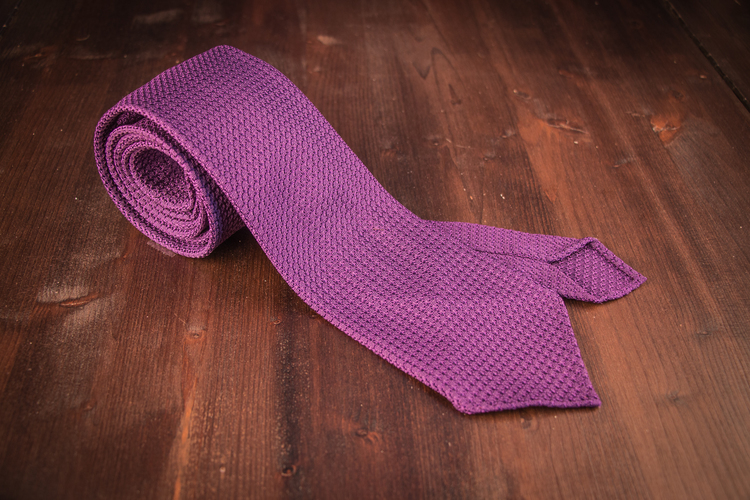 Solid Silk Grenadine Grossa Tie - Untipped - Lilac