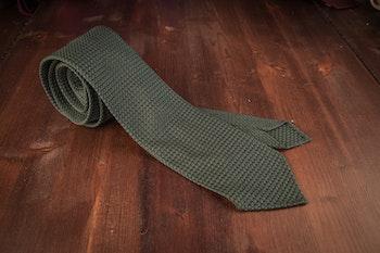 Solid Silk Grenadine Grossa Tie - Untipped - Forrest Green