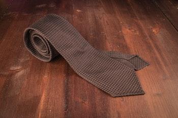 Solid Silk Grenadine Grossa Tie - Untipped - Brown