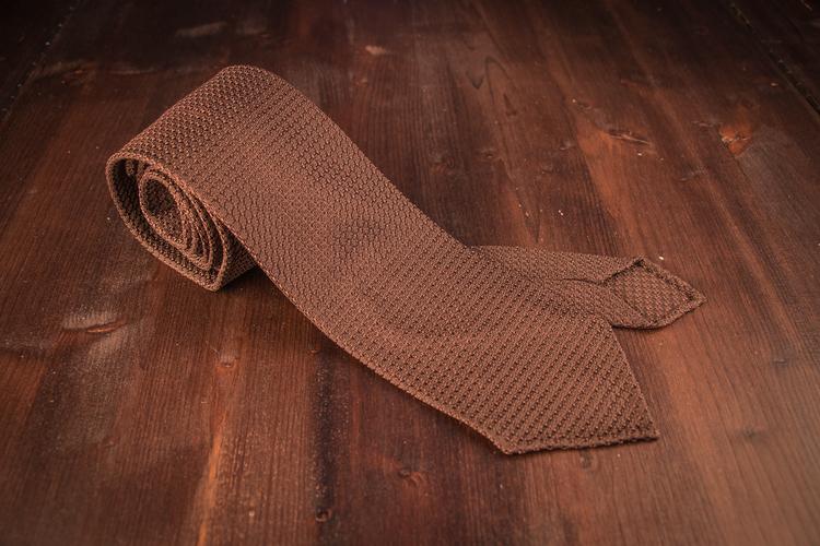 Solid Silk Grenadine Grossa Tie - Untipped - Nougat