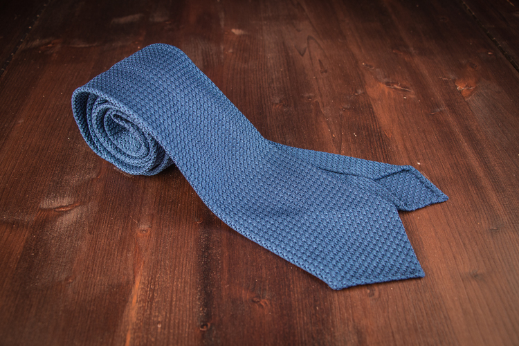 Solid Silk Grenadine Grossa Tie - Untipped - Mid Blue