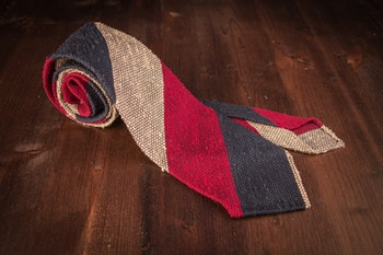 Blockstripe Shantung Grenadine Tie - Untipped - Navy Blue/Red/Beige