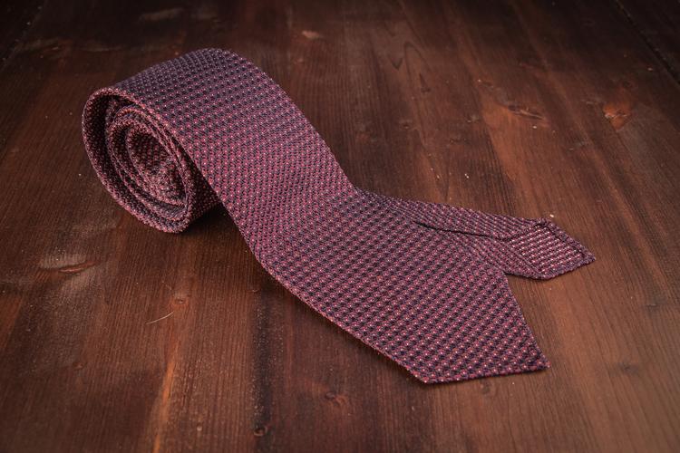Micro Dot Silk Grenadine Tie - Untipped - Cerise/Navy