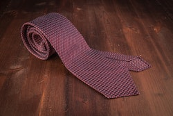 Micro Dot Silk Grenadine Tie - Untipped - Cerise/Navy