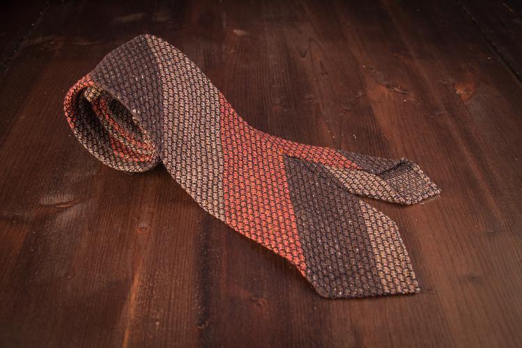 Blockstripe Jacquard Grenadine Tie - Untipped - Brown/Beige/Rust