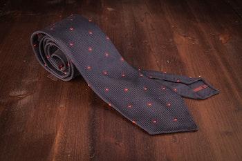 Polka Dot Silk Grenadine Tie - Untipped - Navy/Red