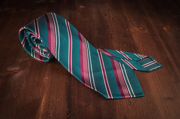 Regimental Silk Grenadine Tie - Untipped - Petrol/Cerise