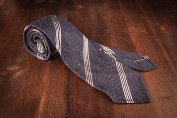 Regimental Shantung Grenadine Tie - Untipped - Navy Blue/White
