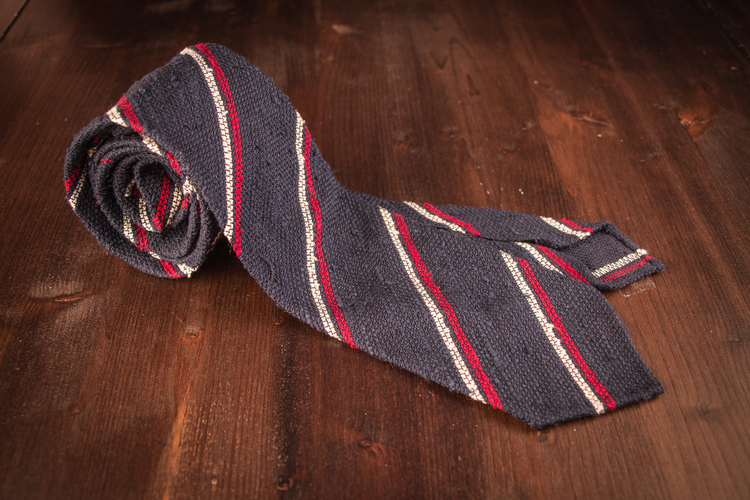 Regimental Shantung Grenadine Tie - Untipped - Navy Blue/Red/White
