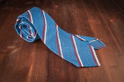 Regimental Shantung Grenadine Tie - Untipped - Cobolt Blue/Red/White
