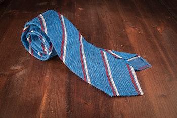 Regimental Shantung Grenadine Tie - Untipped - Cobolt Blue/Red/White