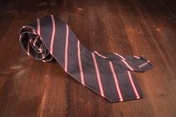 Regimental Silk Grenadine Tie - Untipped - Navy/Red/White