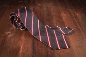 Regimental Silk Grenadine Tie - Untipped - Navy/Red/White