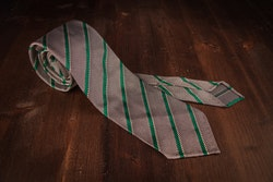 Regimental Silk Grenadine Tie - Untipped - Grey/Green