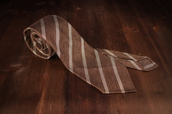 Regimental Silk Grenadine Tie - Untipped - Light Brown/Creme