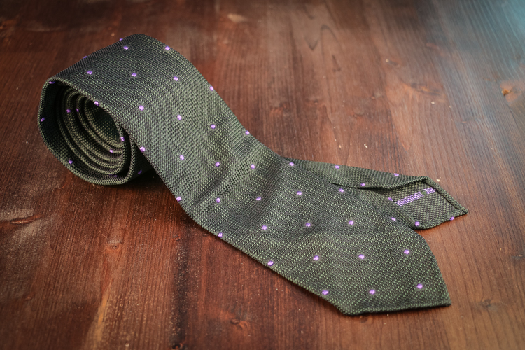 Polka Dot Silk Grenadine Tie - Untipped - Green/Purple