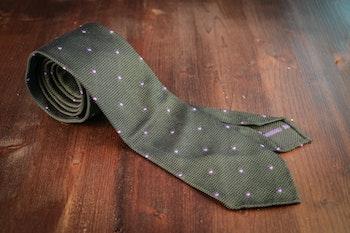 Polka Dot Silk Grenadine Tie - Untipped - Green/Purple