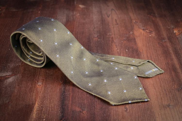 Polka Dot Silk Grenadine Tie - Untipped - Green/Blue
