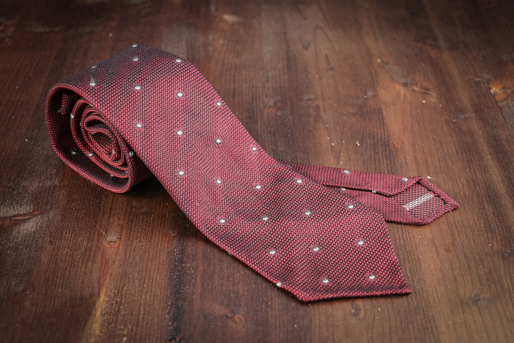 Polka Dot Silk Grenadine Tie - Untipped - Burgundy/Grey