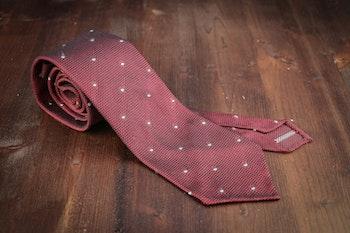 Polka Dot Silk Grenadine Tie - Untipped - Burgundy/Grey