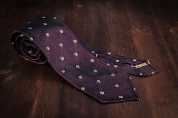 Floral Silk Grenadine Tie - Untipped - Lilac/Green/Yellow