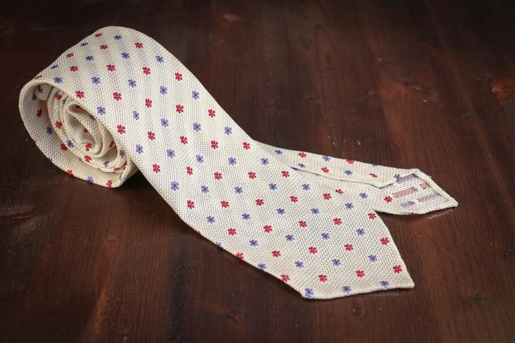 Floral Silk Grenadine Tie - Untipped - White/Red/Blue