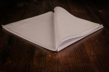 Solid Cotton Pocket Square - White Poplin