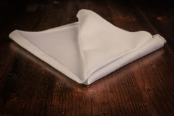 Solid Cotton Pocket Square - White Twill