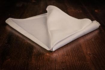 Solid Cotton Pocket Square - White Twill