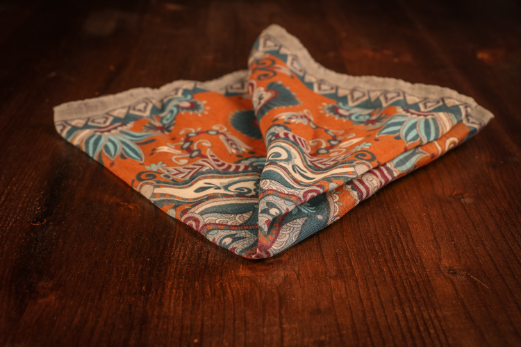 Cashmere/Cotton Floral - Rust/agrey/Turqouise
