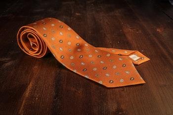 Small Paisley Vintage Silk Tie - Rust Orange