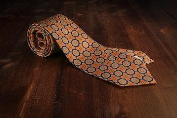 Medallion Vintage Silk Tie - Navy/Orange
