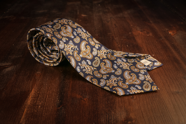 Paisley Vintage Silk Tie - Navy Blue/Brown/Light Blue
