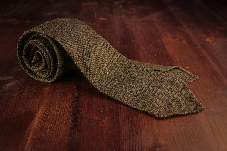 Solid Shantung Grenadine Tie - Untipped - Olive Green