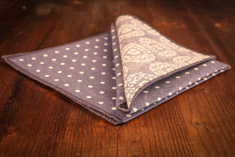 Polka Dot/Medallion Cotton Pocket Square - Navy Blue/White
