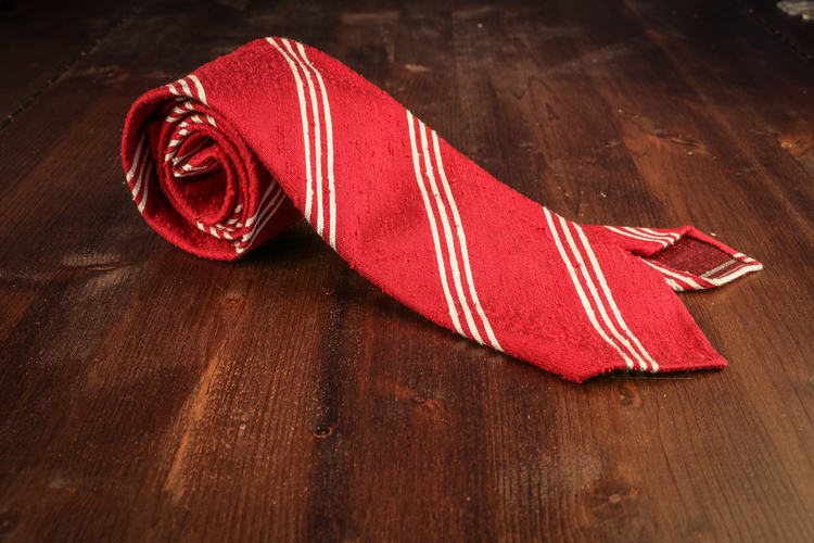 Regimental Shantung Tie - Untipped - Red/White