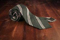 Regimental Shantung Tie - Untipped - Green/White