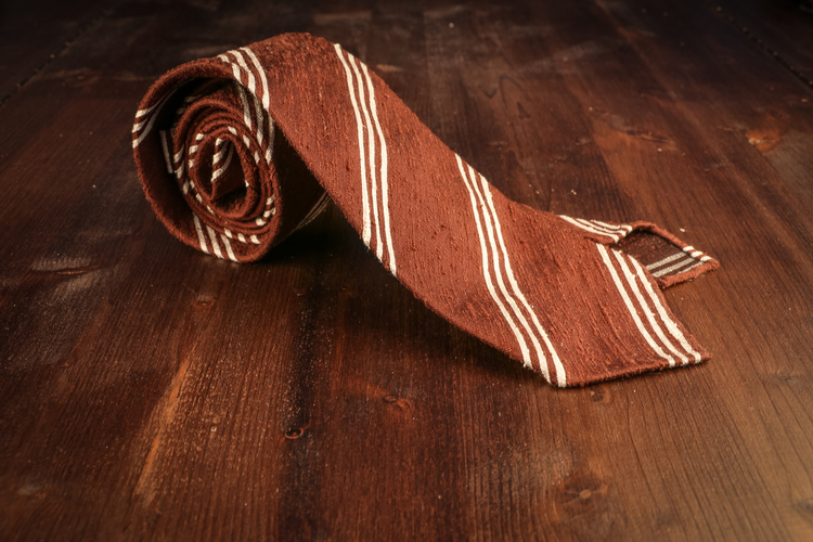 Regimental Shantung Tie - Untipped - Brown/White